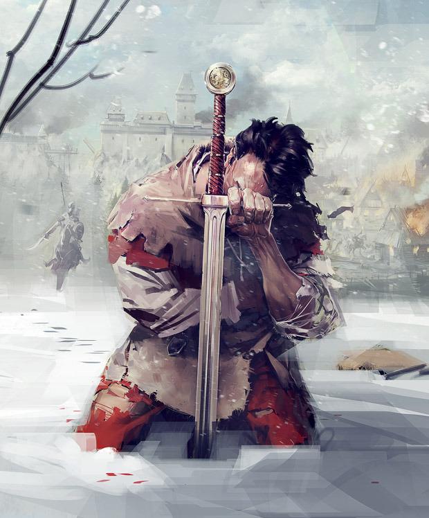 Meč ve sněhu